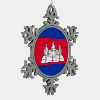 Cambodia Flag Snowflake Pewter Christmas Ornament