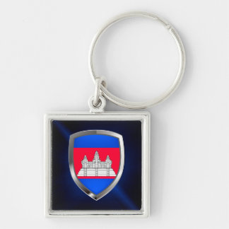 Cambodia Metallic Emblem Silver-Colored Square Keychain