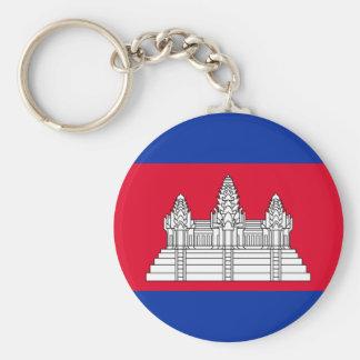 Cambodia National World Flag Basic Round Button Keychain