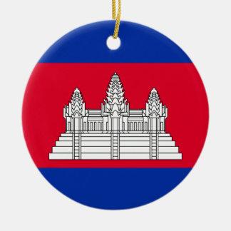 Cambodia National World Flag Ceramic Ornament