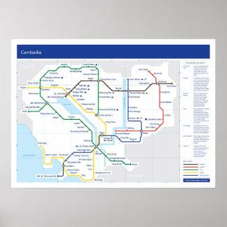 Cambodia tube map poster