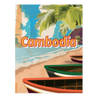 Cambodia Vintage travel poster Postcard