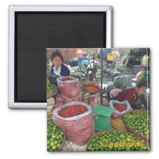 Cambodian Market — Chili Peppers and Limes Magnet
