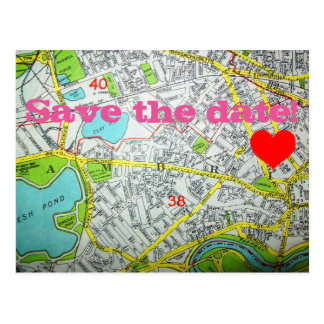 CAMBRIDGE, MA Map 'Save the date!' Postcard