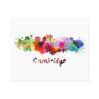 Cambridge MA skyline in watercolor Canvas Print