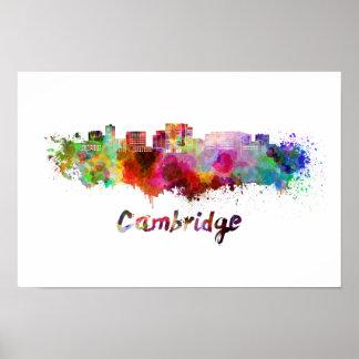 Cambridge MA skyline in watercolor Poster