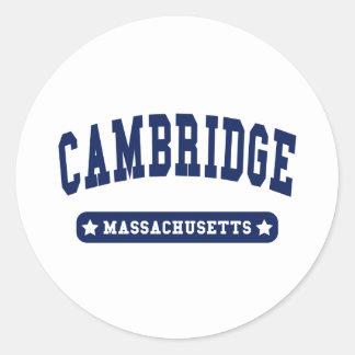 Cambridge Massachusetts College Style t shirts Classic Round Sticker
