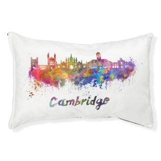 Cambridge skyline in watercolor pet bed