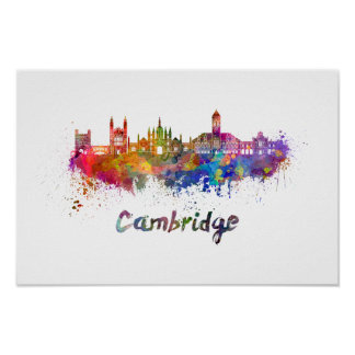 Cambridge skyline in watercolor poster