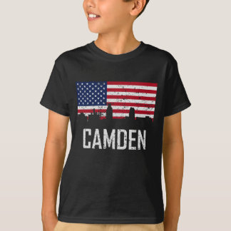 Camden New Jersey Skyline American Flag Distressed T-Shirt