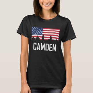 Camden New Jersey Skyline American Flag T-Shirt