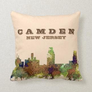 Camden New Jersey Skyline SG Safari Buff Throw Pillow
