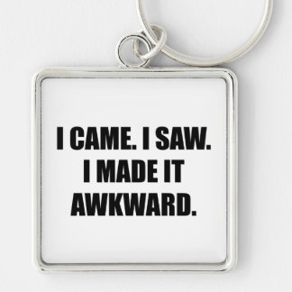 Came Saw Made Awkward Silver-Colored Square Keychain
