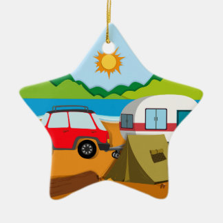 Cameground with tent and caravan ceramic ornament