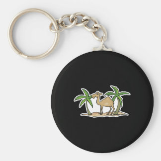 camel and palm trees basic round button keychain
