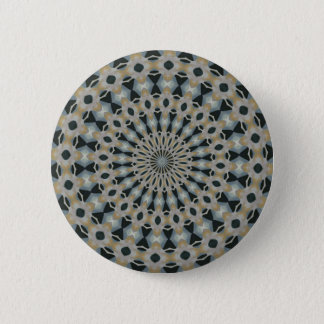 Camel and Teal Kaleidoscope 2 Inch Round Button