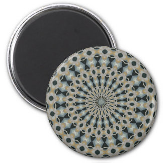 Camel and Teal Kaleidoscope 2 Inch Round Magnet
