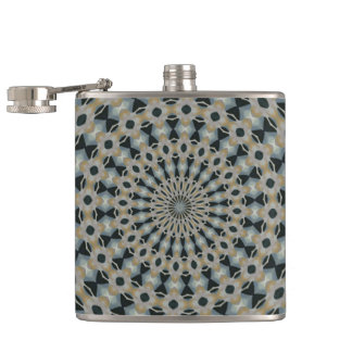 Camel and Teal Kaleidoscope Hip Flask