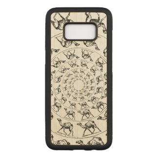 Camel Black Ink Drawing Illustration on Wood Carved Samsung Galaxy S8 Case