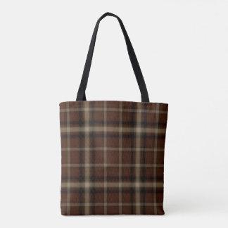Camel Brown Black Tartan Plaid Tote Bag
