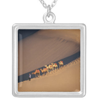 Camel caravan on the desert, Dunhuang, Gansu Silver Plated Necklace