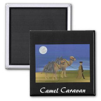 Camel Caravan Square Magnet