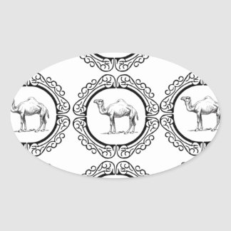 Camel Cluster Oval Sticker