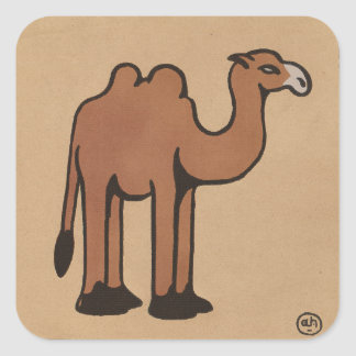 Camel - Colorful Antiquarian Book Illustration Square Sticker