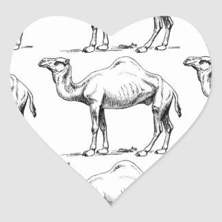 Camel herd art heart sticker