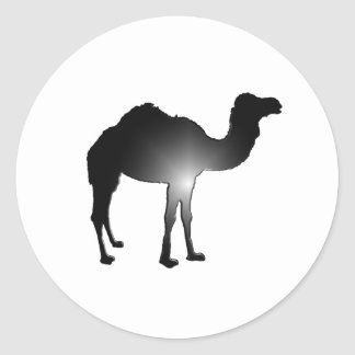 Camel illusion round sticker