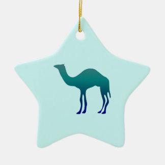 Camel in Teals Ceramic Ornament