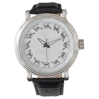 Camel Ink Drawing Illustration on White Faux Shell Wrist Watch