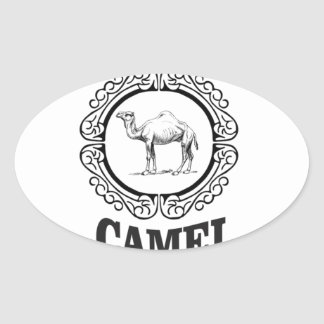 camel logo art oval sticker