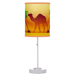Camel Palm Trees Sunset Table Lamp