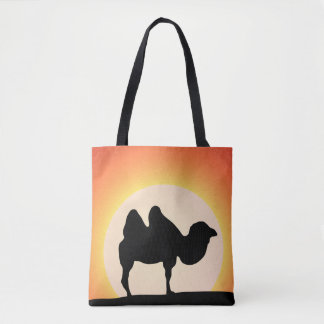 Camel silhouette in the desert tote bag