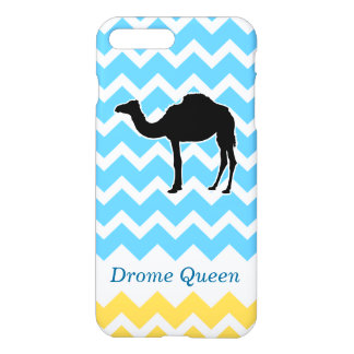 Camel Silhouette on Blue and Yellow Chevron iPhone 7 Plus Case
