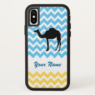 Camel Silhouette on Blue and Yellow Chevron iPhone X Case