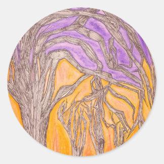 Camel Thorn Trees Round Sticker