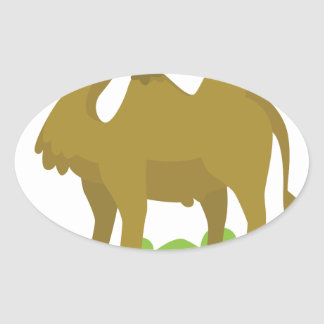 camel walking tall oval sticker