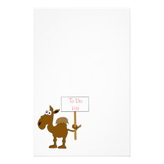 Camel With Sign To Do List Template Stationery