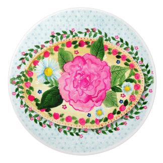 Camellia and Daisies Floral Ceramic Knob
