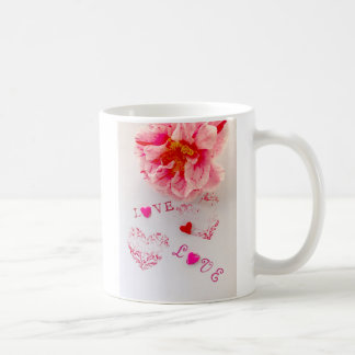 Camellia flower, hearts and love coffee mug