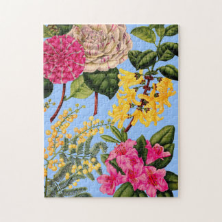 camellia, forsythia, rhododendron and acacia jigsaw puzzle