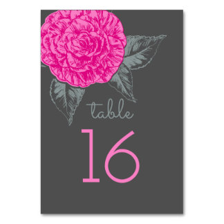 Camellia inked art pink grey wedding table numbers table card