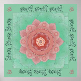 Camellia Lotus Mantra Mandala Print