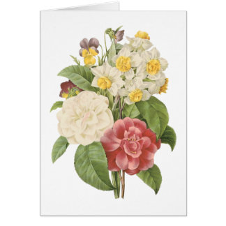 camellia, narcissus, pansy by Redouté Card