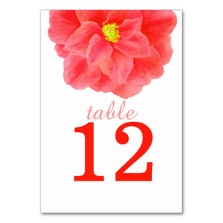 Camellia red art wedding table numbers table cards