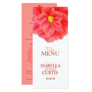 Camellia red wedding dinner menu card