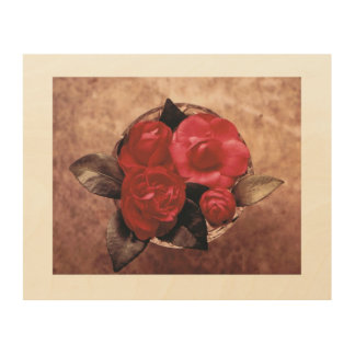 Camellias in Vase Wood Wall Art