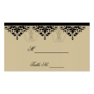 Camelot Gold with Black Scroll Wedding Place Cards Business Card